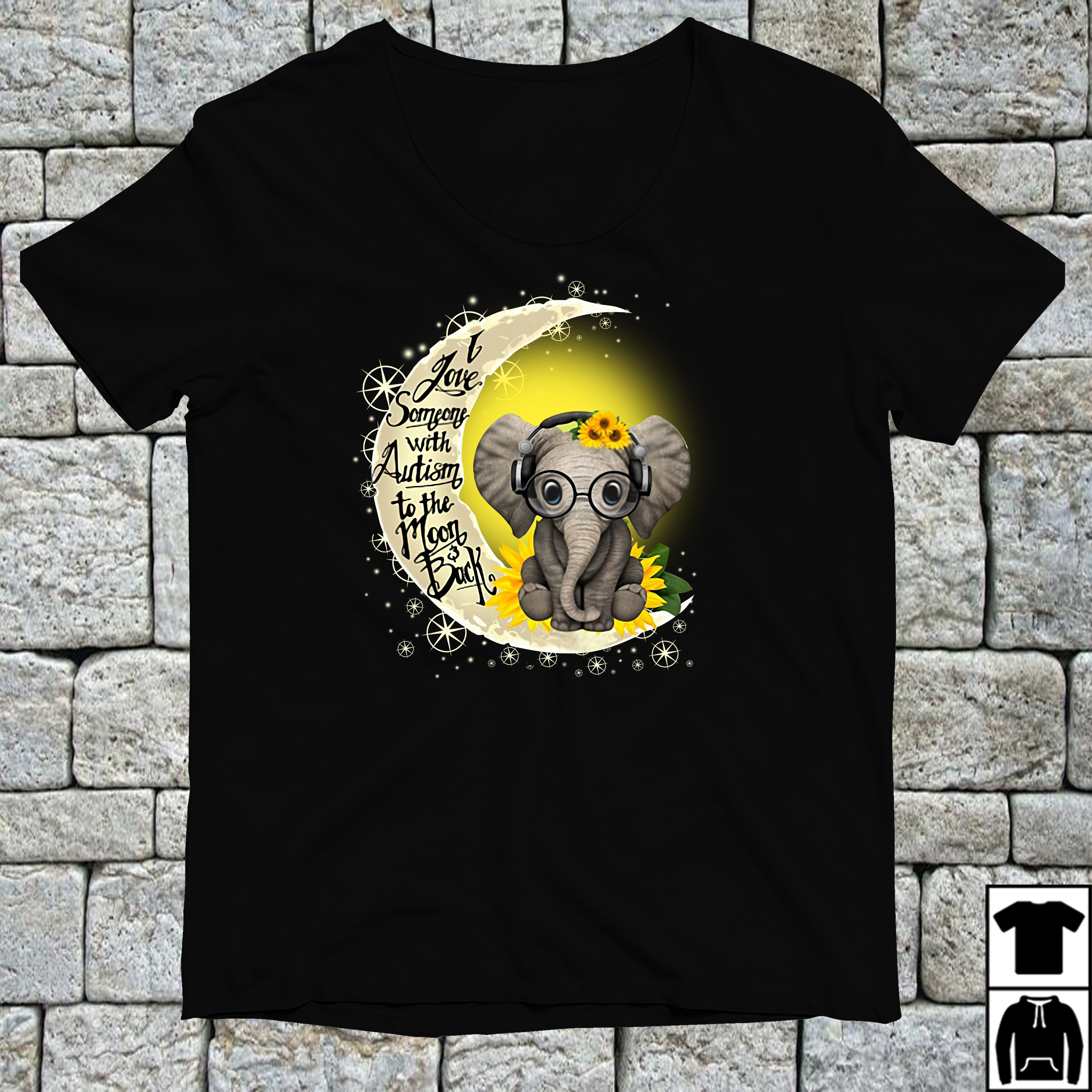 Elephant I love someone with Autism to the Moon back shirt