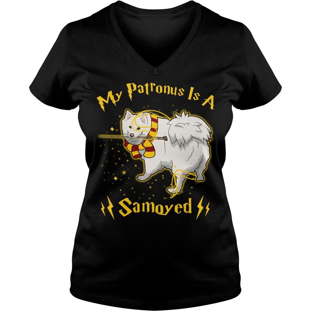 Harry Potter My Patronus is a Samoyed V-neck T-shirt