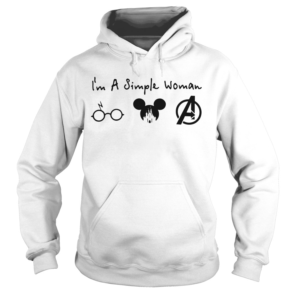 I'm a simple woman I like Harry Potter Mickey and Avengers Hoodie