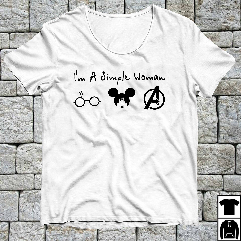 I'm a simple woman I like Harry Potter Mickey and Avengers shirt