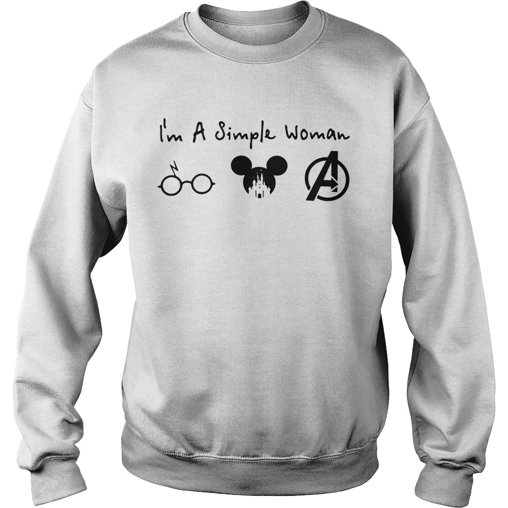 I'm a simple woman I like Harry Potter Mickey and Avengers Sweater