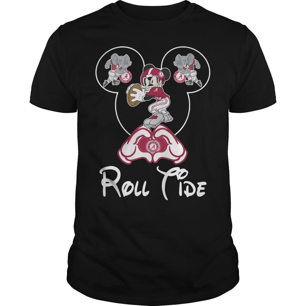 Mickey mouse love Alabama Crimson Tide Guys Shirt