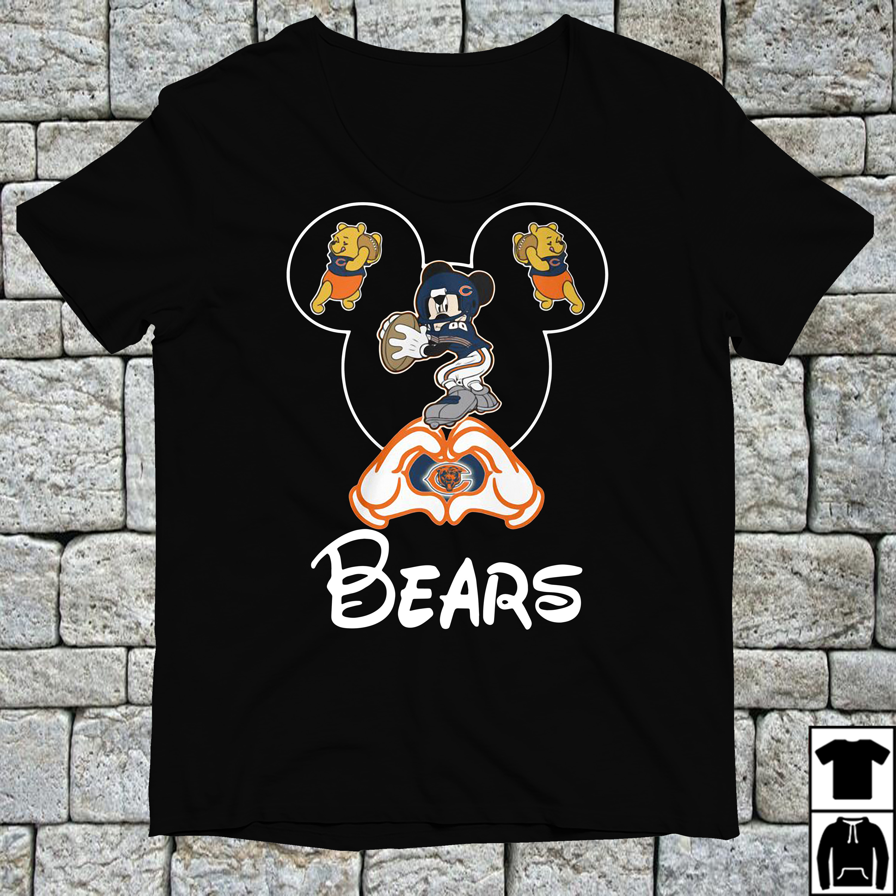 Mickey mouse love Chicago Bears shirt