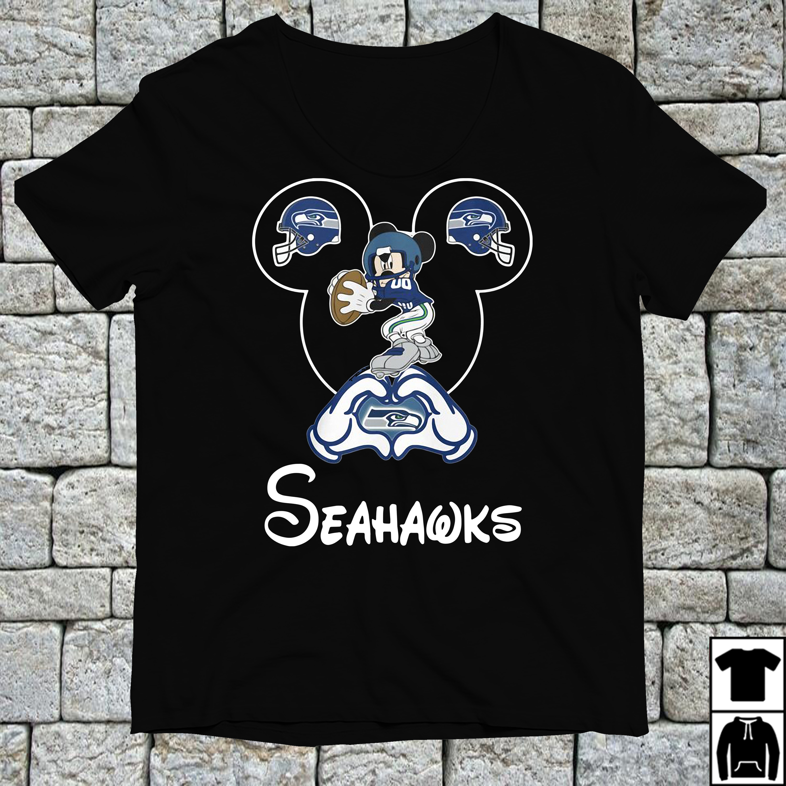 Mickey mouse love Seattle Seahawks shirt
