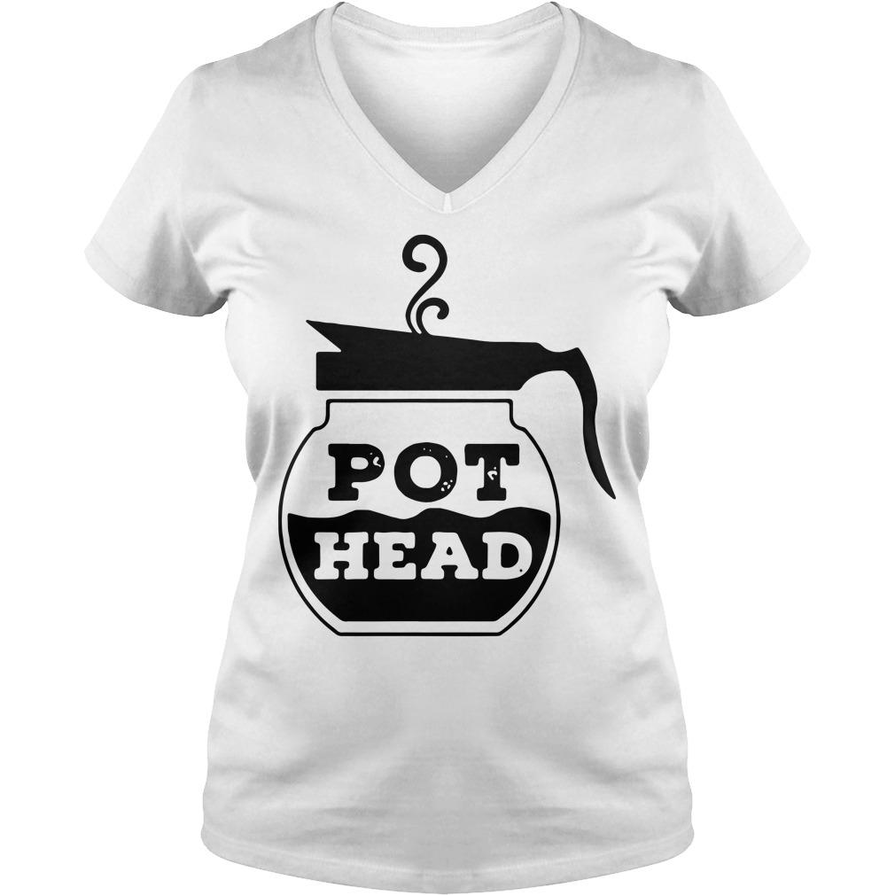 Pot Head Coffee funny V-neck T-shirt
