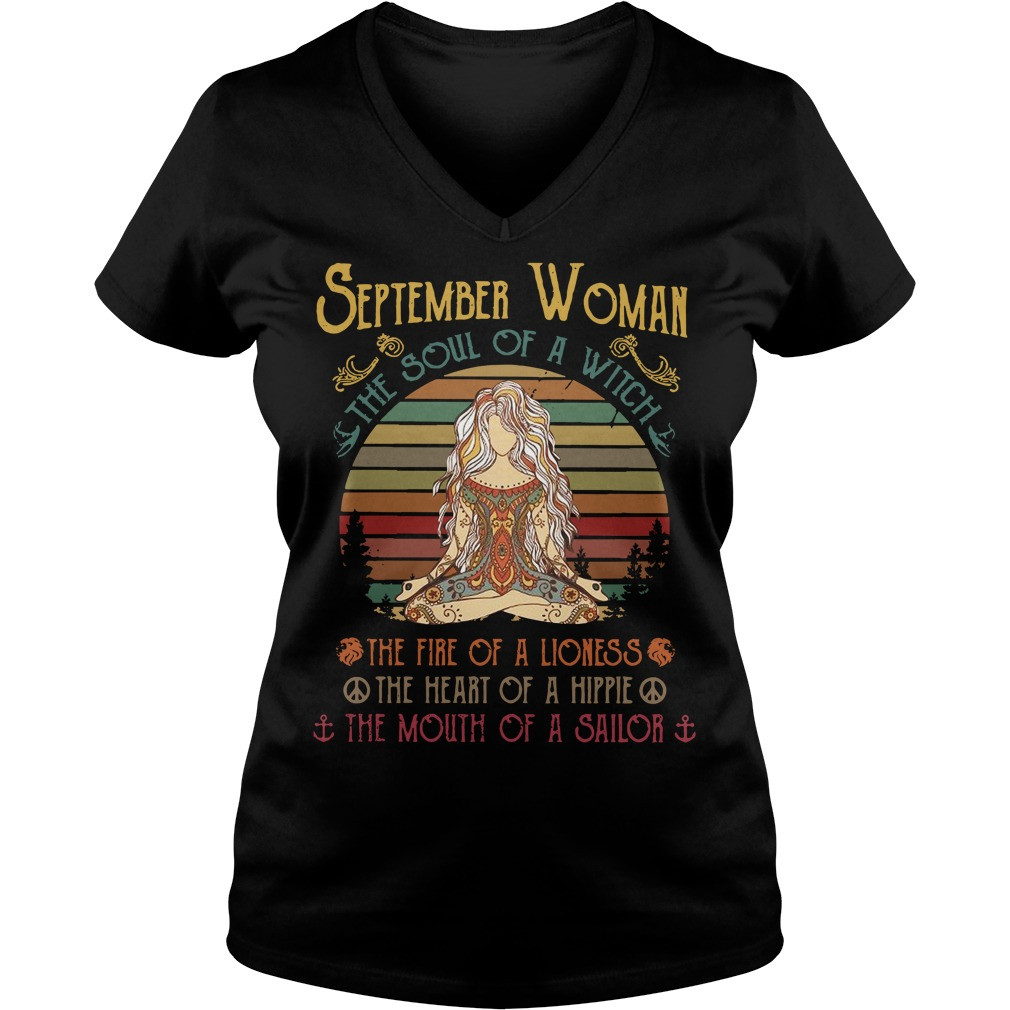 September woman the soul of a witch the fire of a lioness vintage V-neck T-shirt