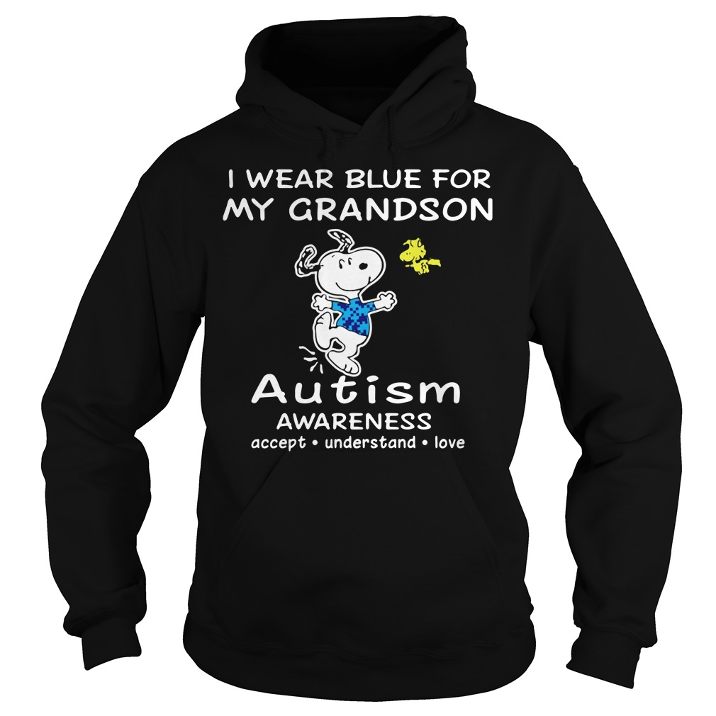 Snoopy and Woodstock I wear blue for my grandson autism Hoodie