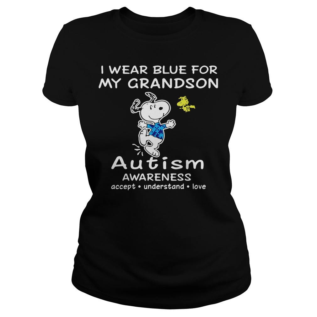 Snoopy and Woodstock I wear blue for my grandson autism Ladies Tee