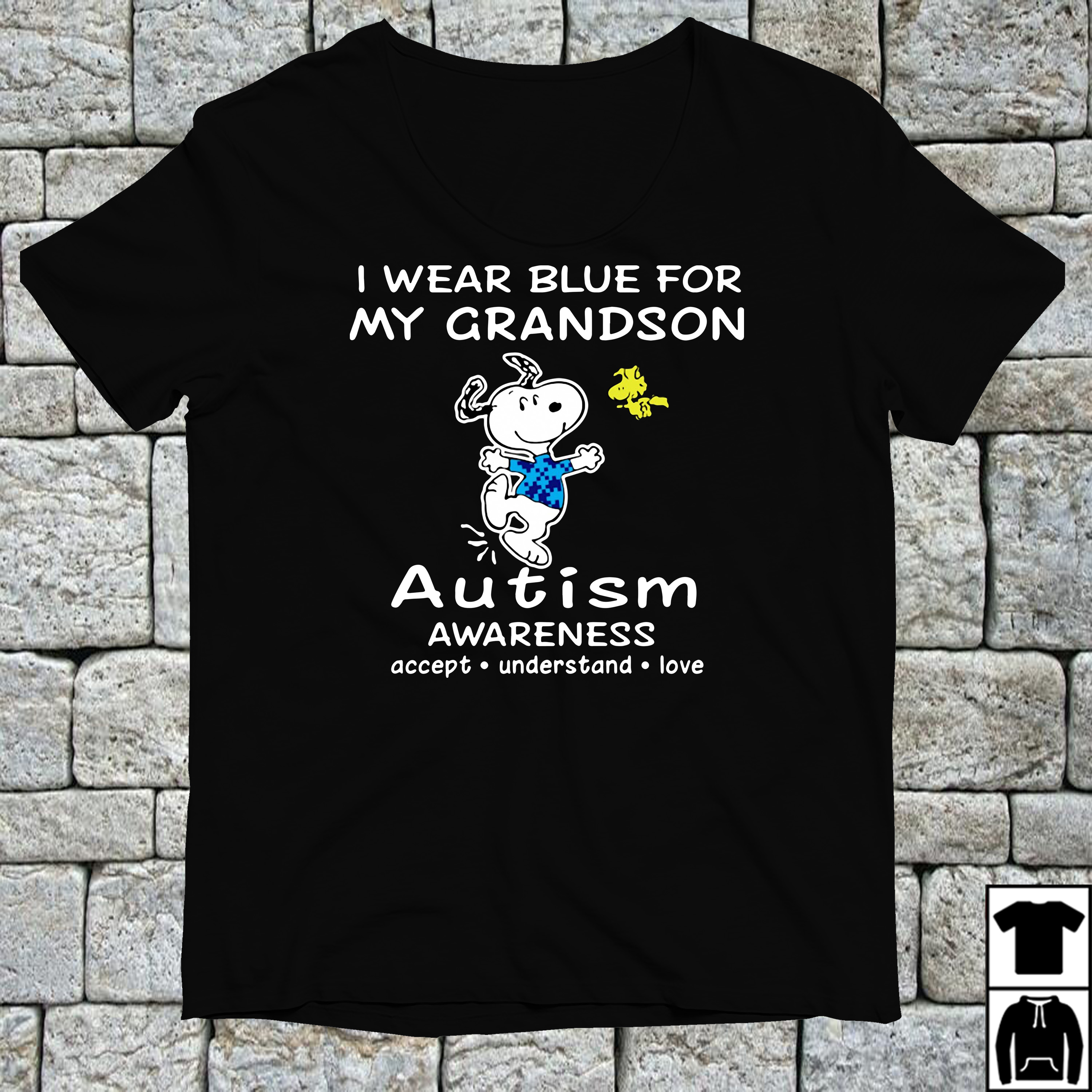 Snoopy and Woodstock I wear blue for my grandson autism shirt