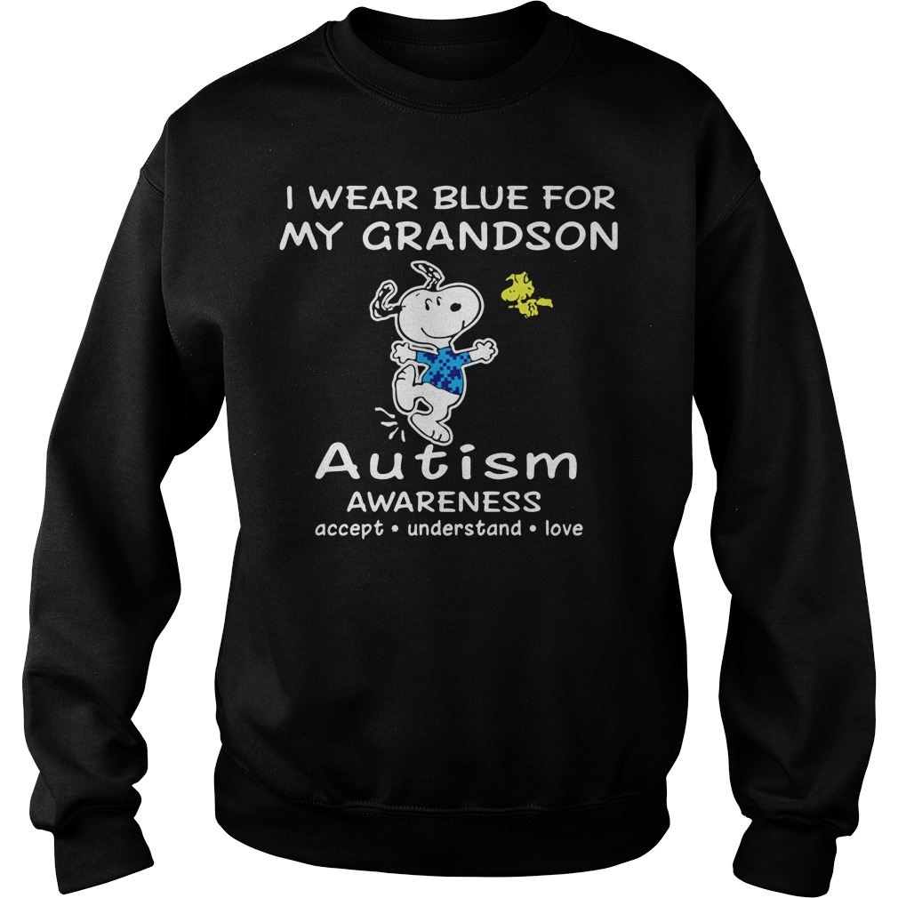 Snoopy and Woodstock I wear blue for my grandson autism Sweater