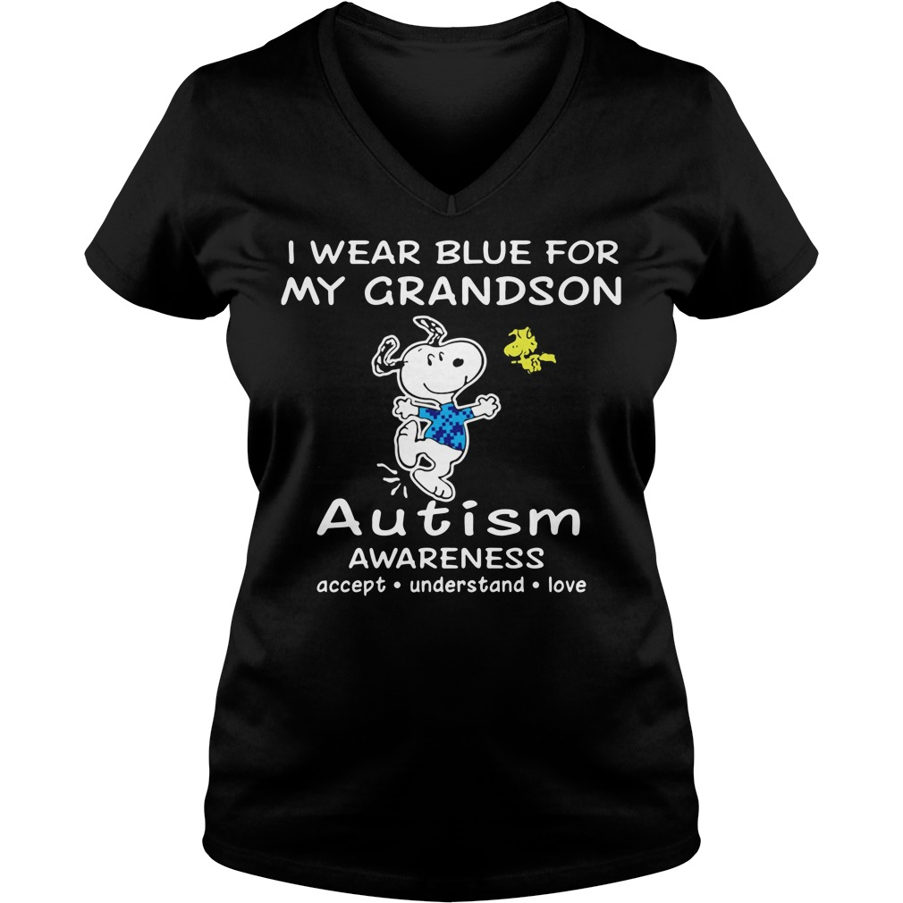 Snoopy and Woodstock I wear blue for my grandson autism V-neck T-shirt