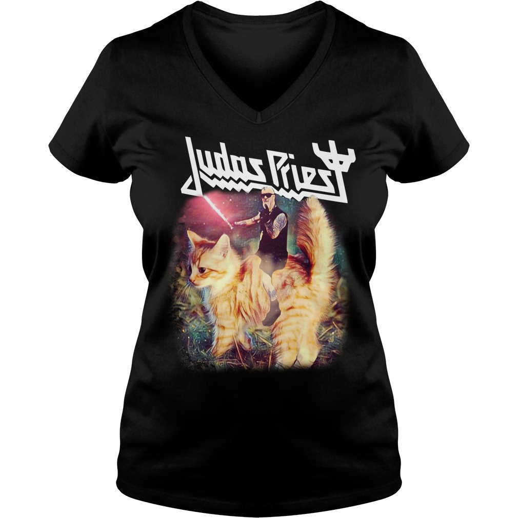 Star Wars Judas Priest riding cat V-neck T-shirt
