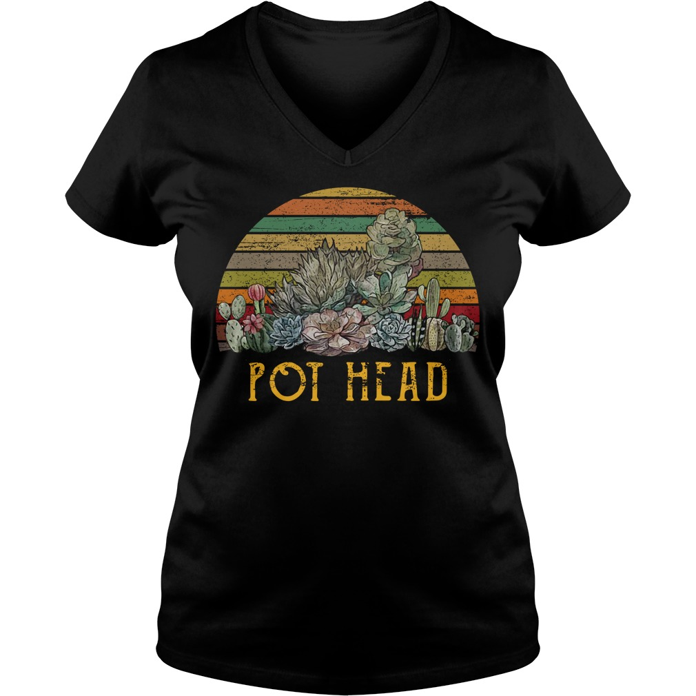 Vintage succulent plants pot head V-neck T-shirt