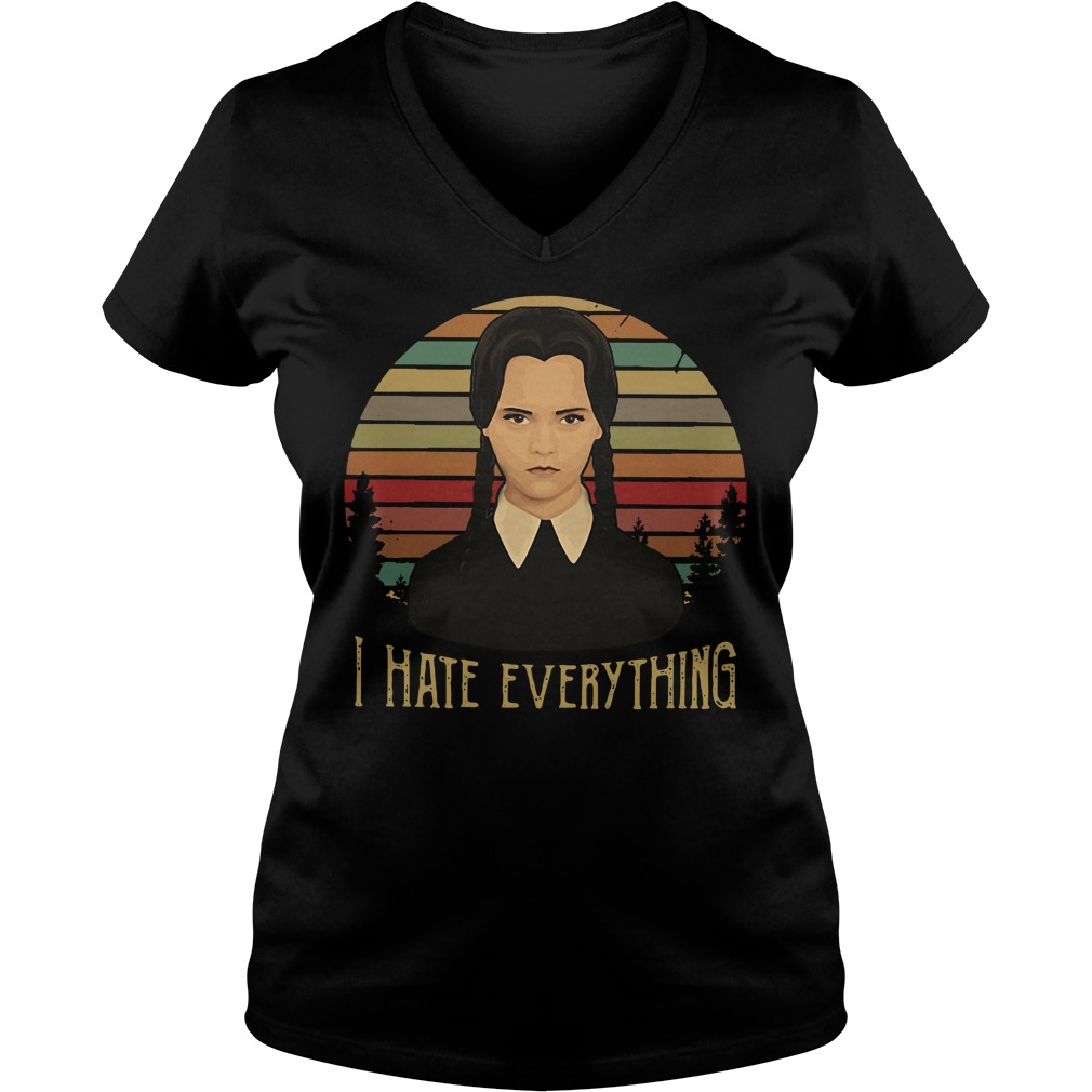 Cute Wednesday Addams I hate everything vintage V-neck T-shirt