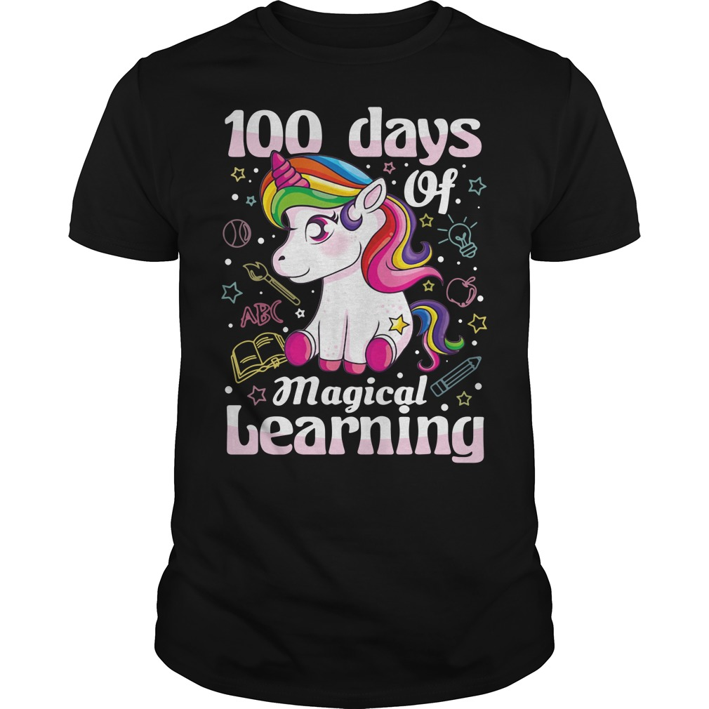 100 days of magical learning unicorn shirt