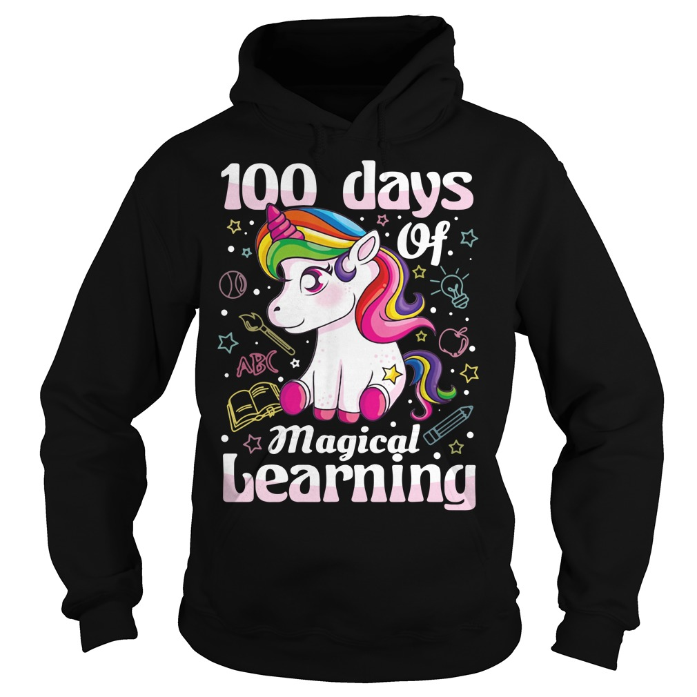 100 days of magical learning unicorn Hoodie