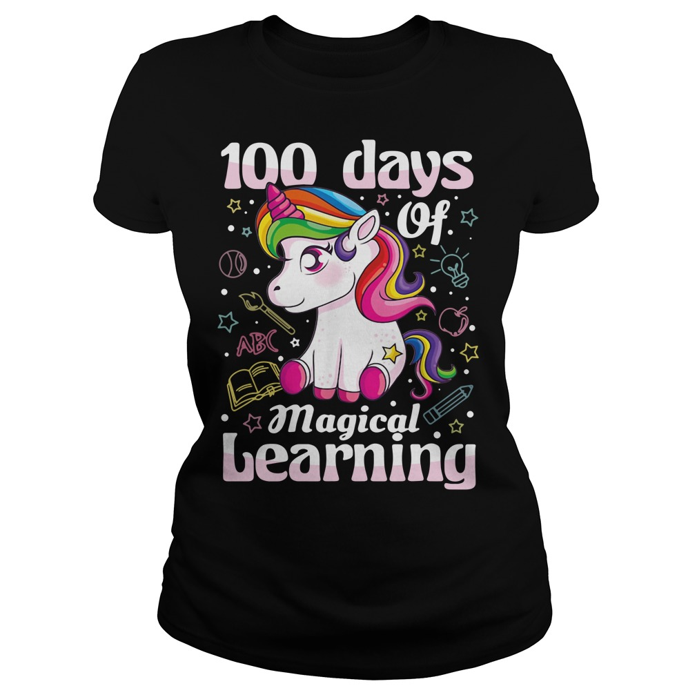 100 days of magical learning unicorn Ladies Tee