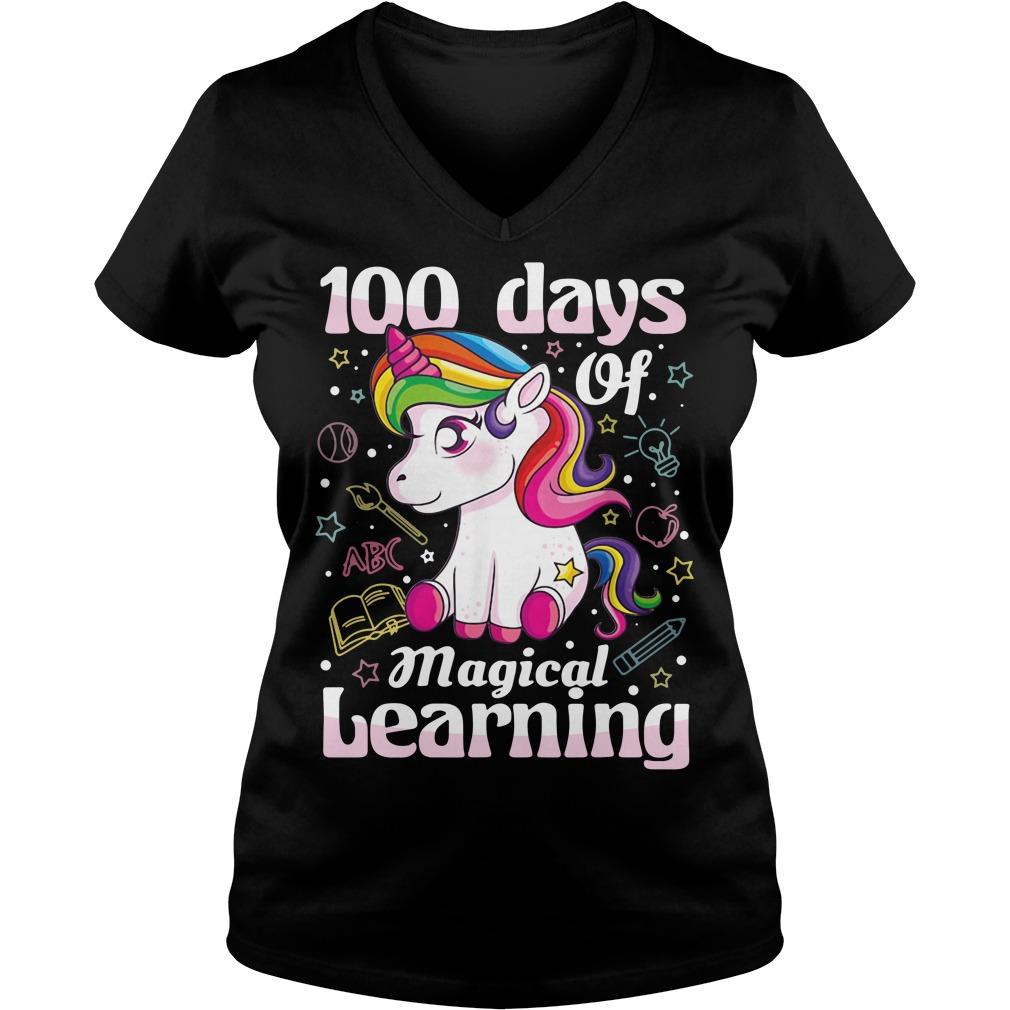 100 days of magical learning unicorn V-neck T-shirt