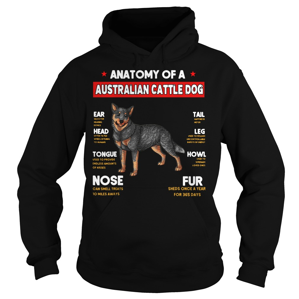 Anatomy of a Australian Cattle Dog Ear Head Tongue Nose Tail Hoodie