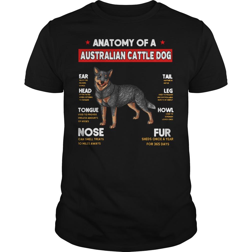 Anatomy of a Australian Cattle Dog Ear Head Tongue Nose Tail shirt