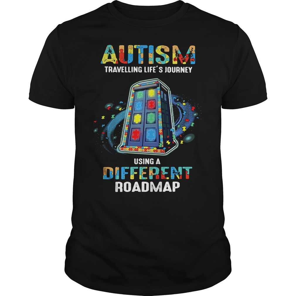 Autism travelling life's journey using a different Guys Shirt