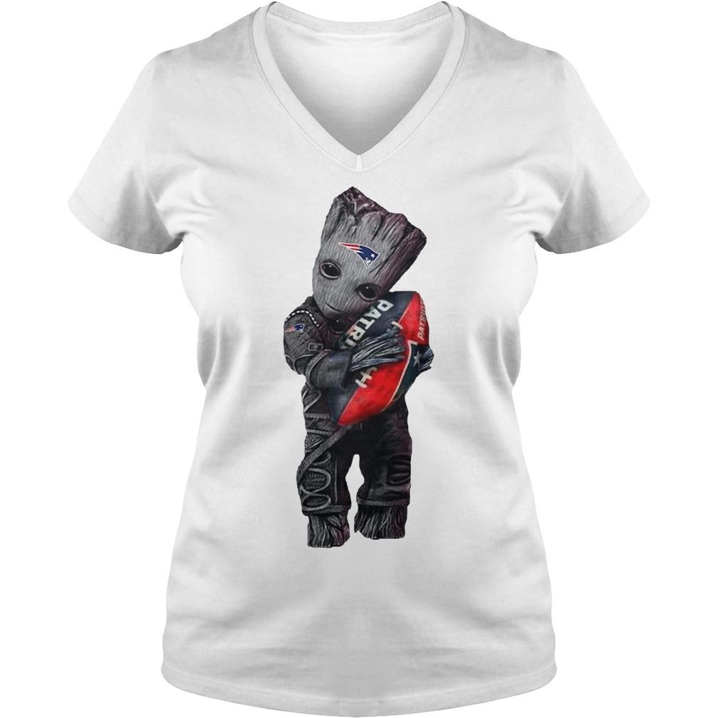 Baby Groot hug New England Patriots V-neck T-shirt