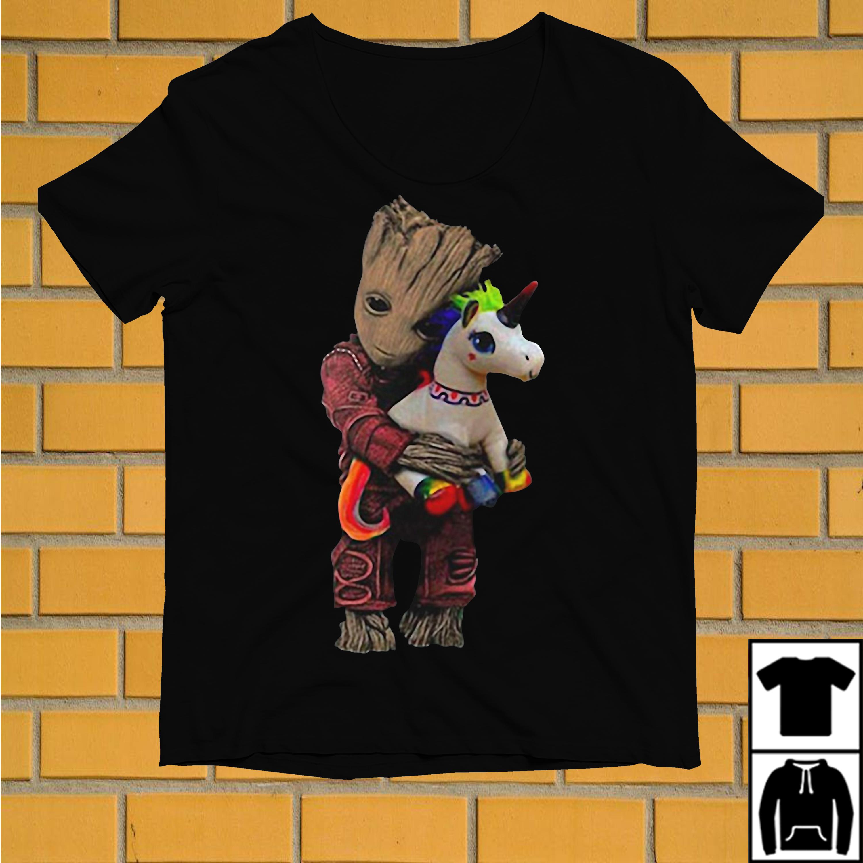 Baby Groot hug Unicorn shirt