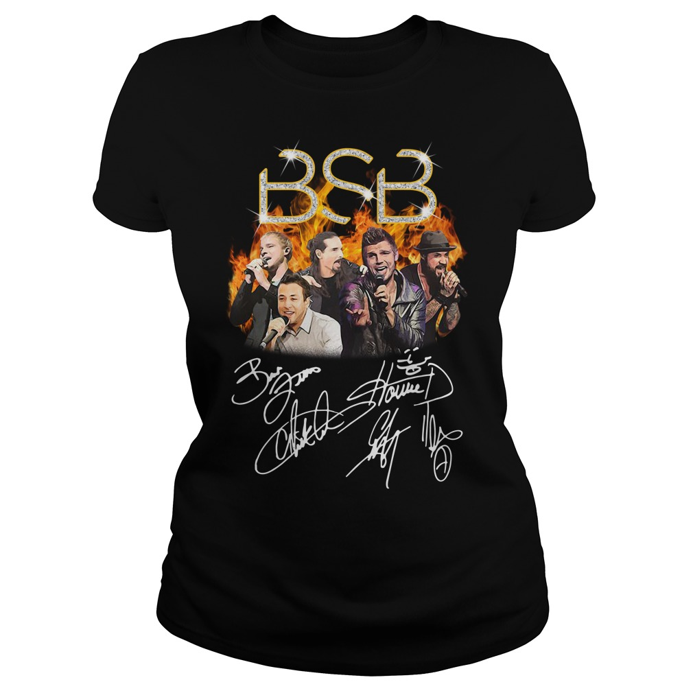 BSB Backstreet Boys members signatures Ladies Tee