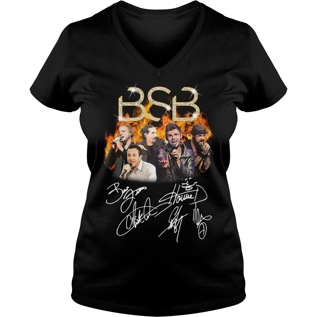 BSB Backstreet Boys members signatures V-neck T-shirt