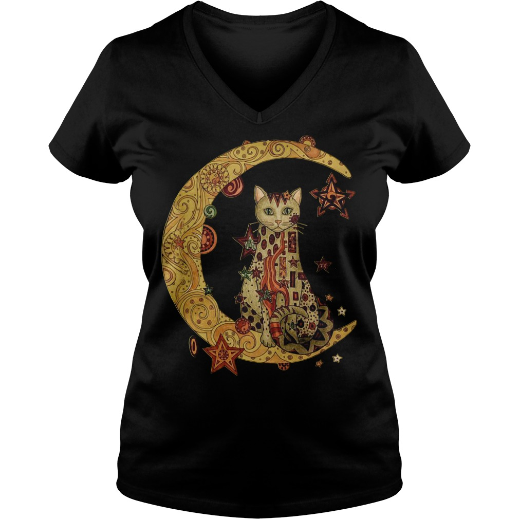 Cat on the moon V-neck T-shirt