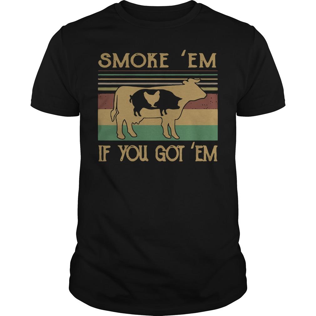 Cow Pig and Chicken smoke em if you got em vintage Guys Shirt