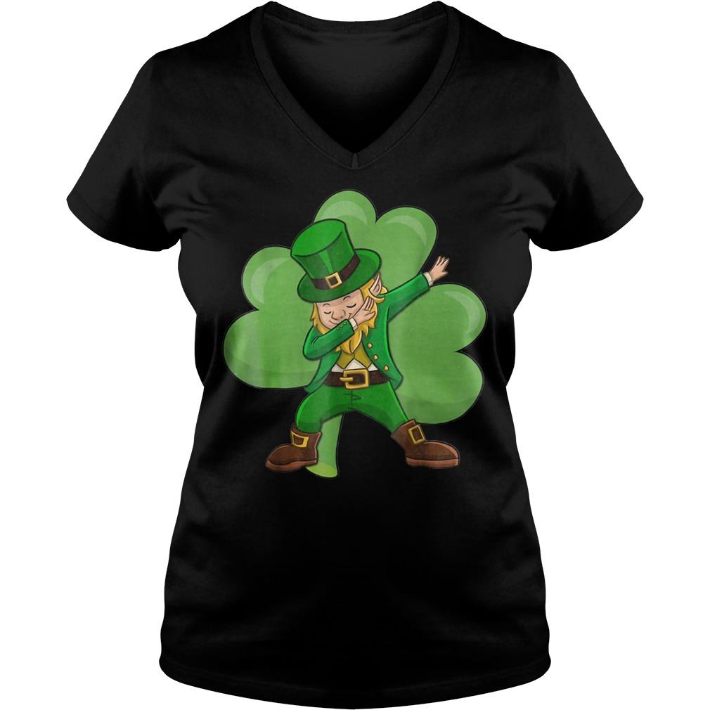 Dabbing Leprechaun St Patricks Day V-neck T-shirt