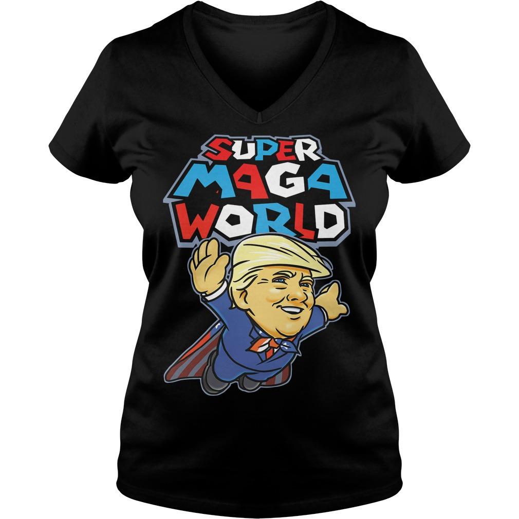 Donald Trump Superman Super Maga world super American AF V-neck T-shirt