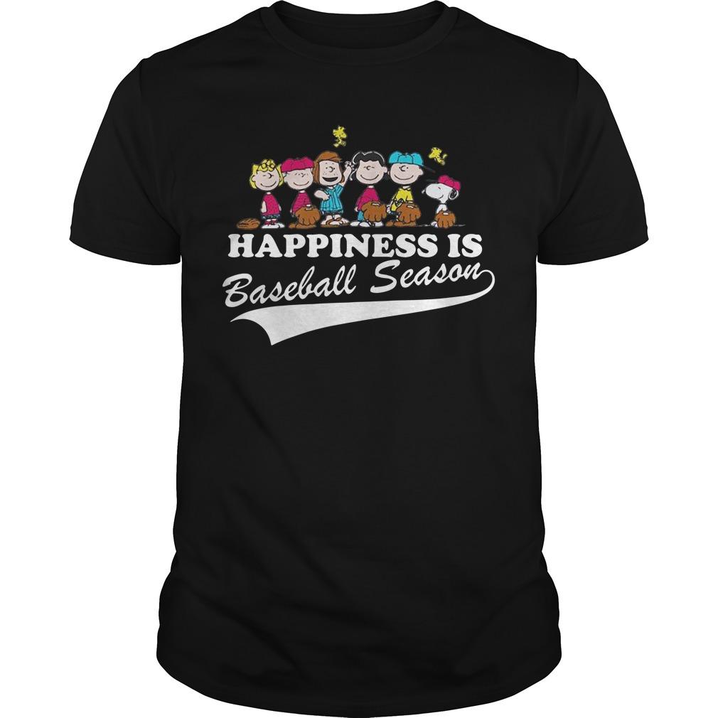 Snoopy and woodstock Happiness is baseball season shirt