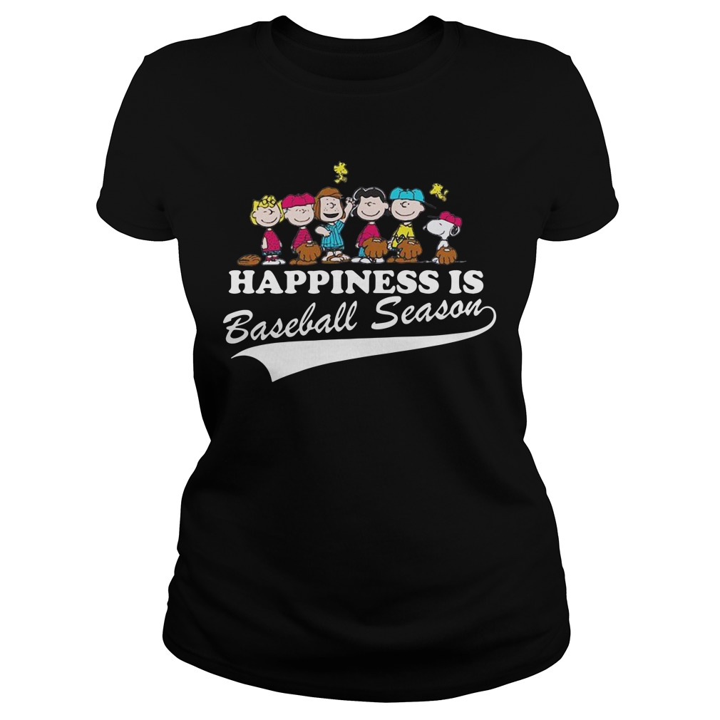 Snoopy and woodstock Happiness is baseball season Ladies Tee