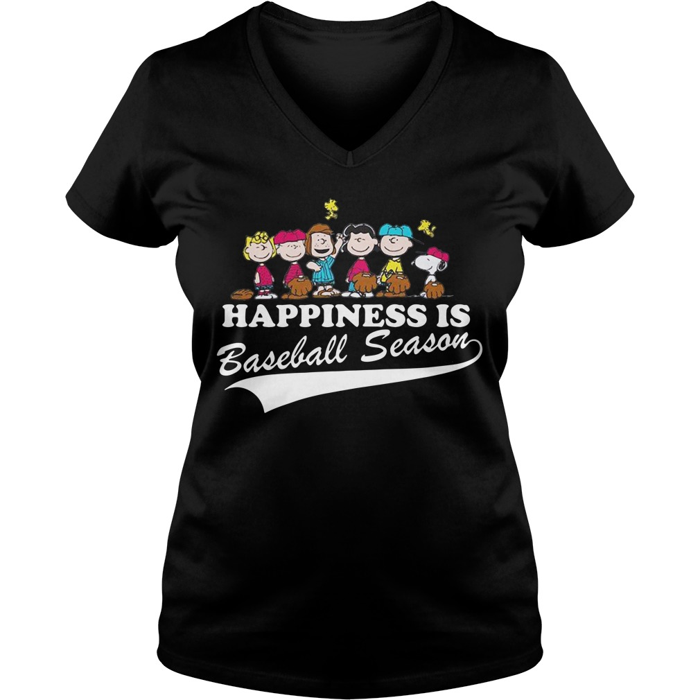 Snoopy and woodstock Happiness is baseball season V-neck T-shirt