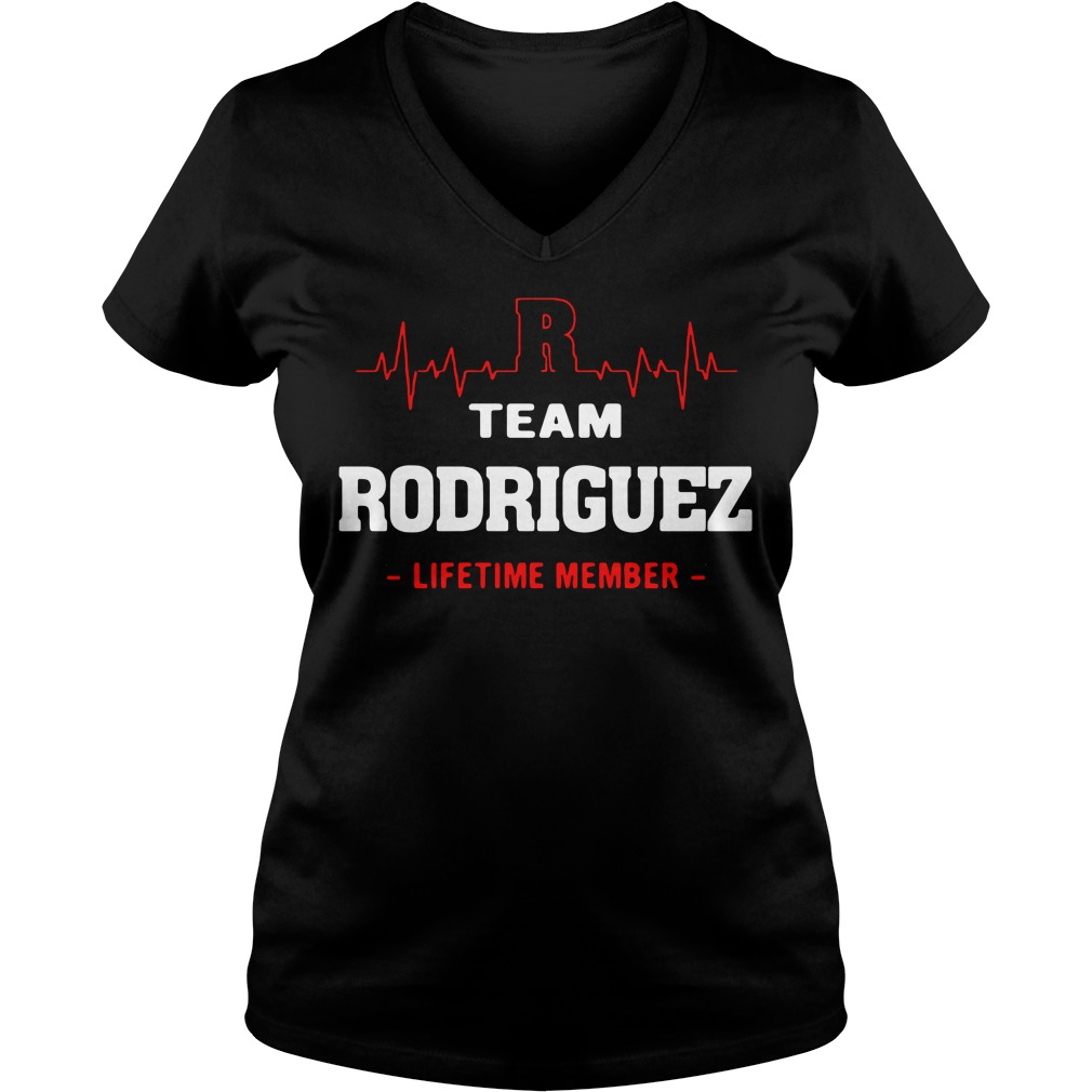 Heartbeat R team Rodriguez lifetime member V-neck T-shirt