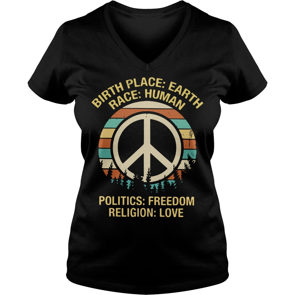 Hipple birthplace earth race human politics freedom religion V-neck T-shirt