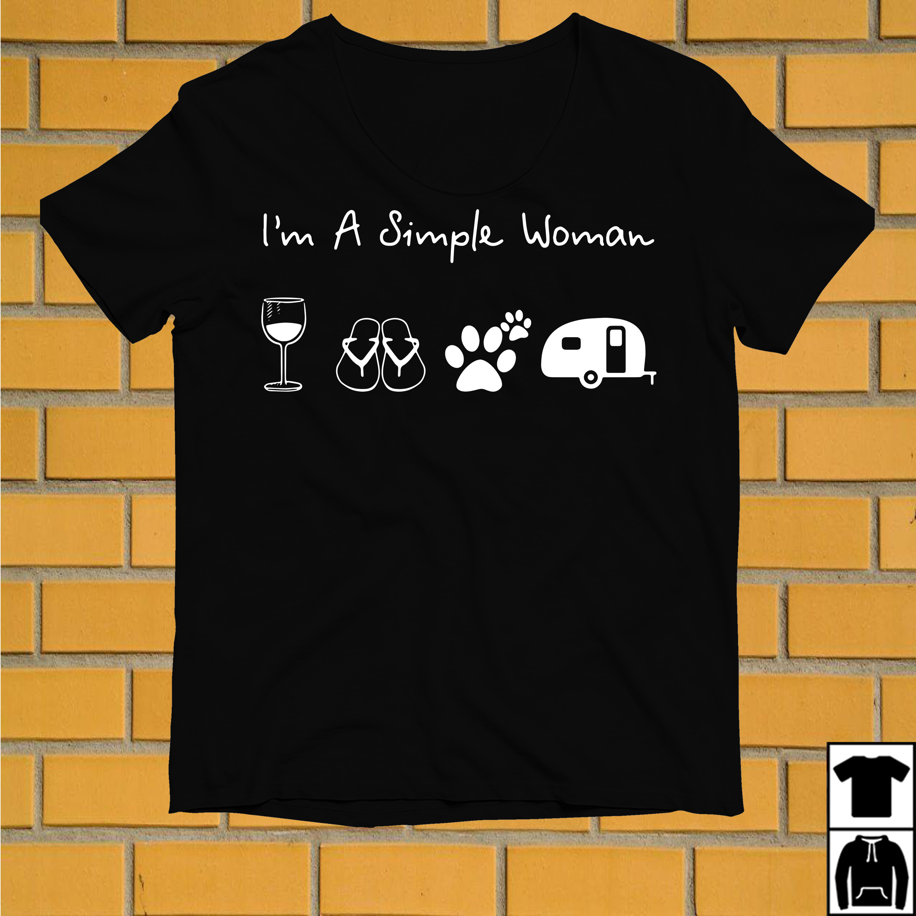 I'm a simple woman I like Wine Flip flop Dog paw and Camping shirt