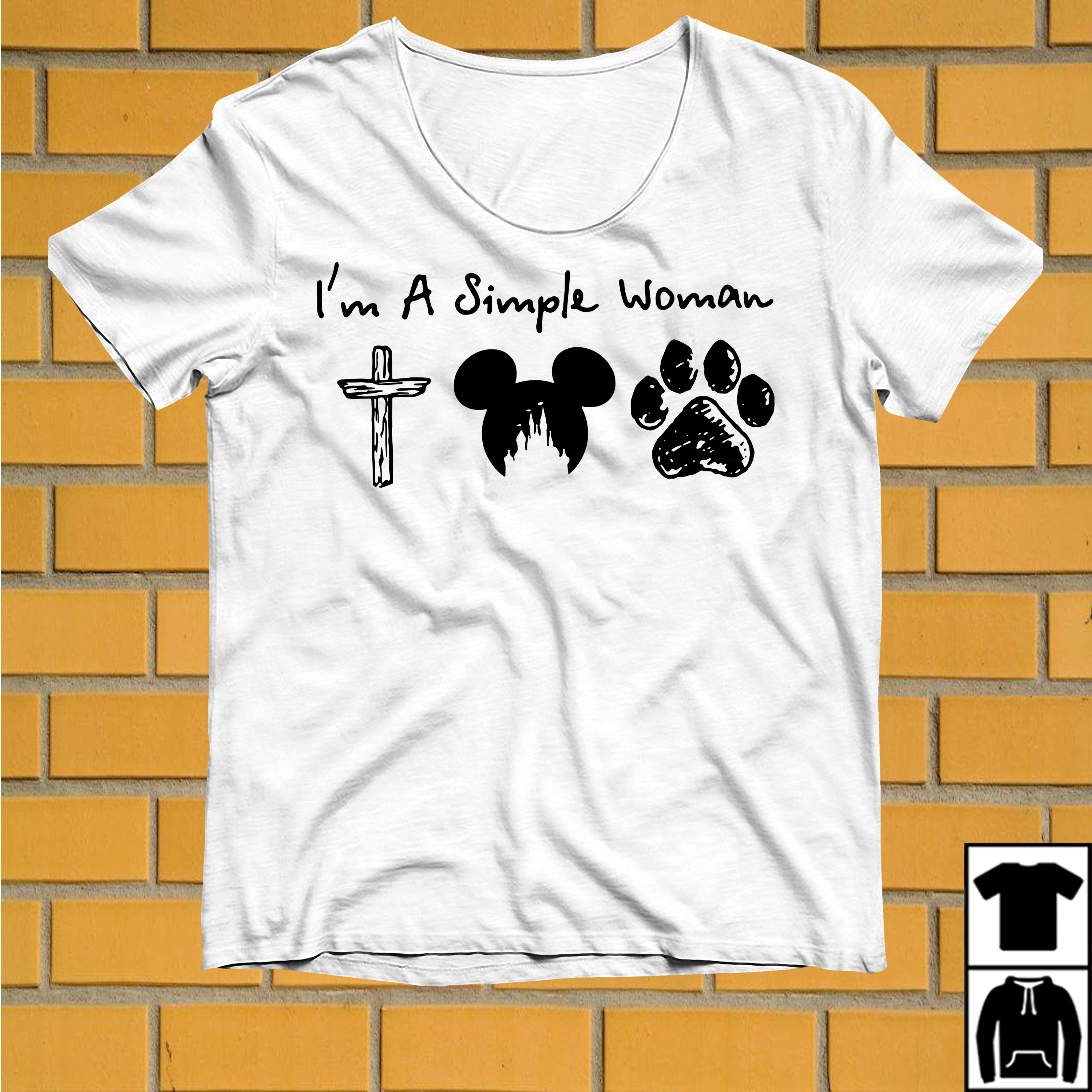 I'm a Simple Woman I like Jesus Mickey Disney and Paw Dogs shirt