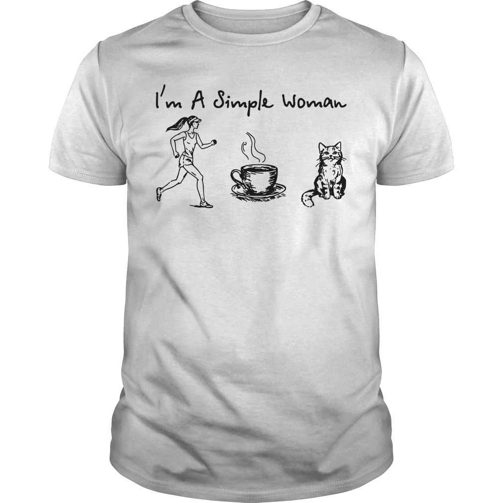 I'm a simple woman I like Running Coffee and Cat Guys Shirt