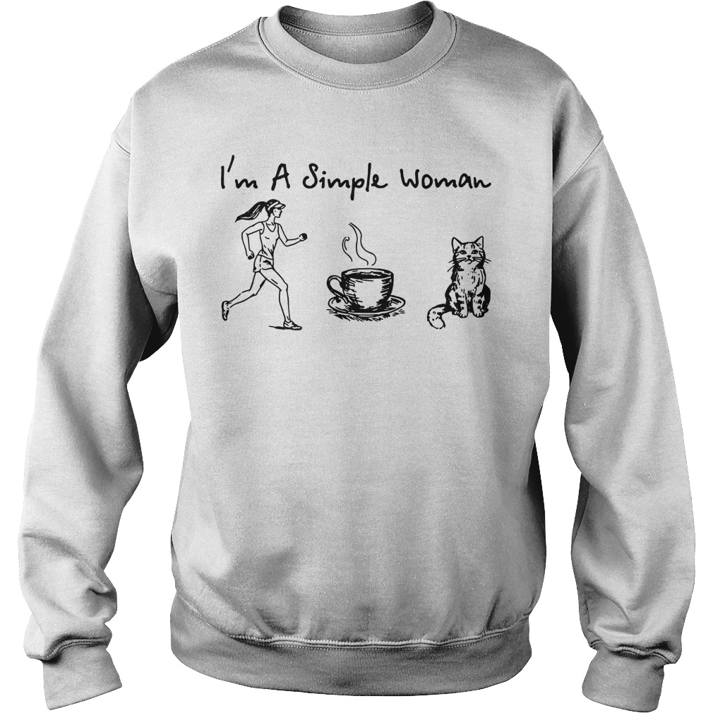 I'm a simple woman I like Running Coffee and Cat Sweater