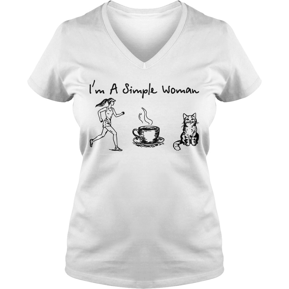 I'm a simple woman I like Running Coffee and Cat V-neck T-shirt