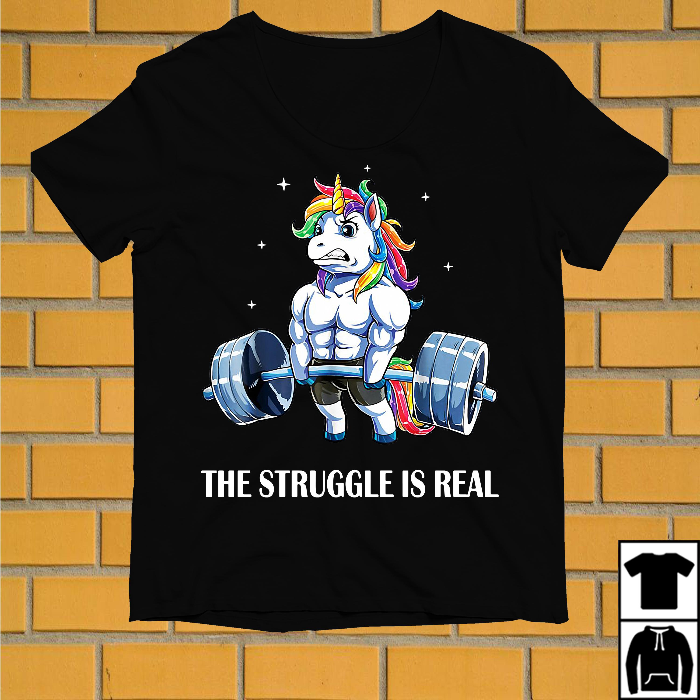 LGBT Unicorn gym the struggle is real shirt