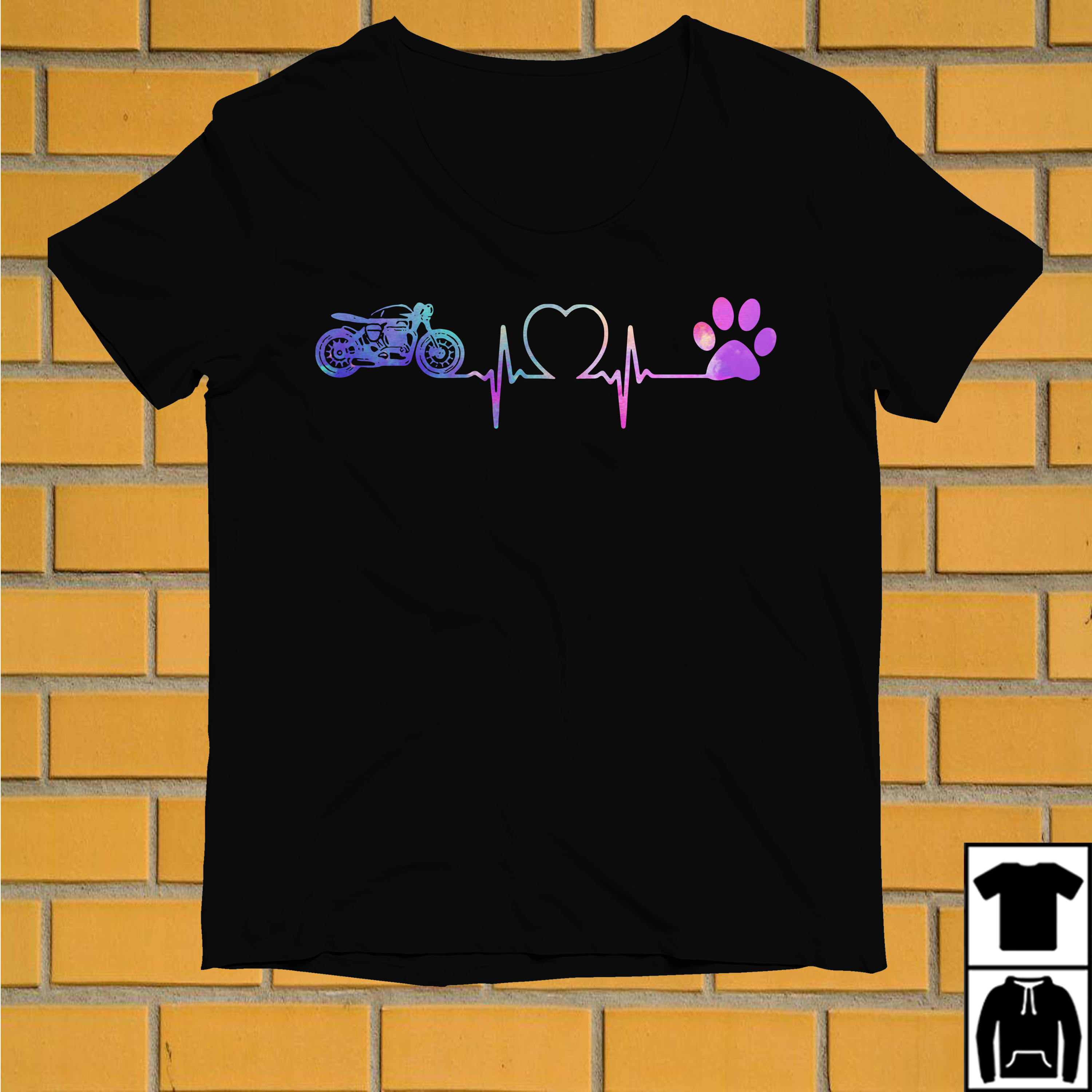 Motorbike Heartbeat Love Paw Dogs shirt