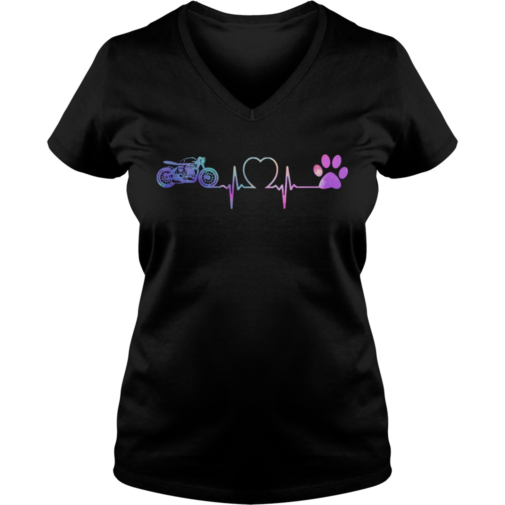 Motorbike Heartbeat Love Paw Dogs V-neck T-shirt