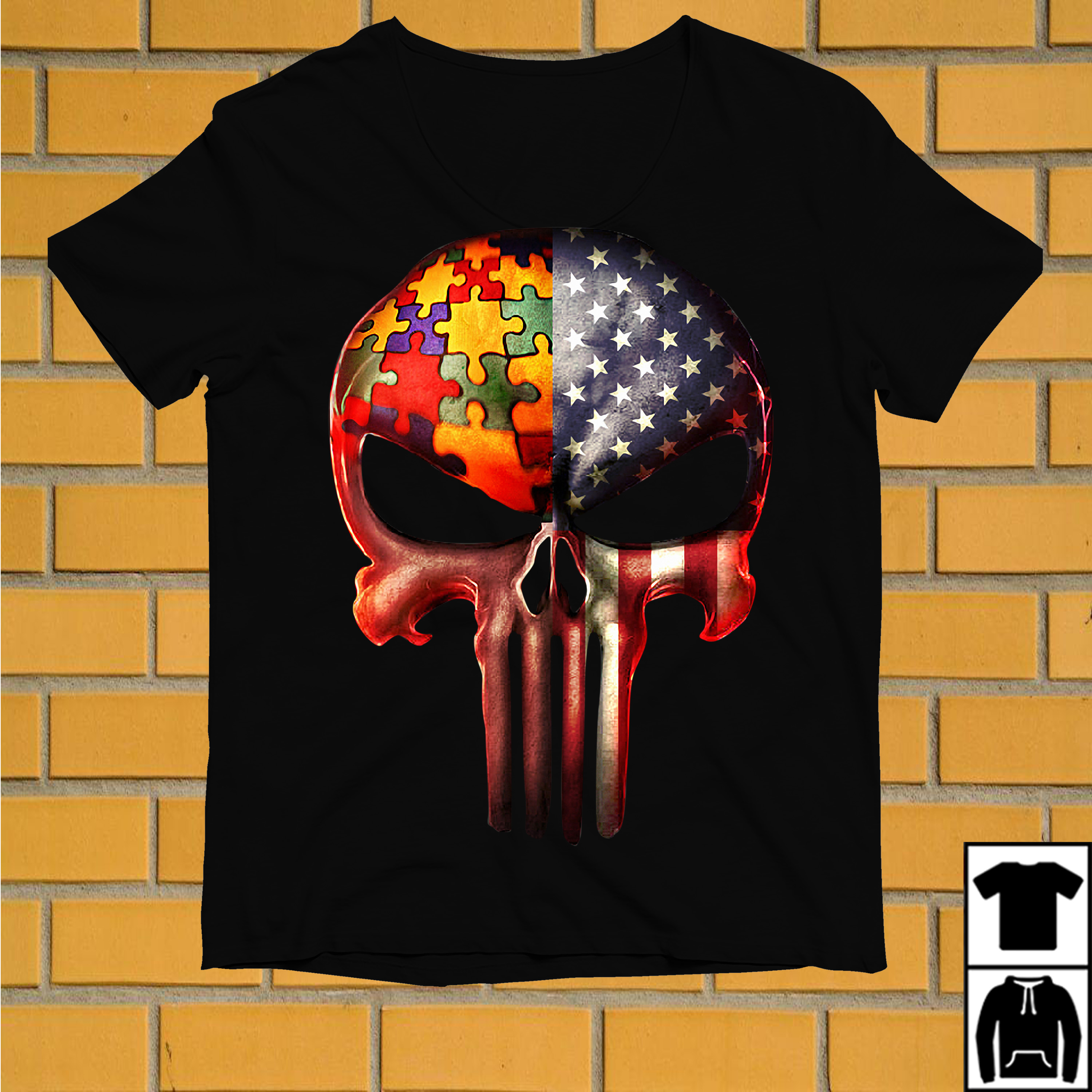 Punisher skull Autism and American flag shirt