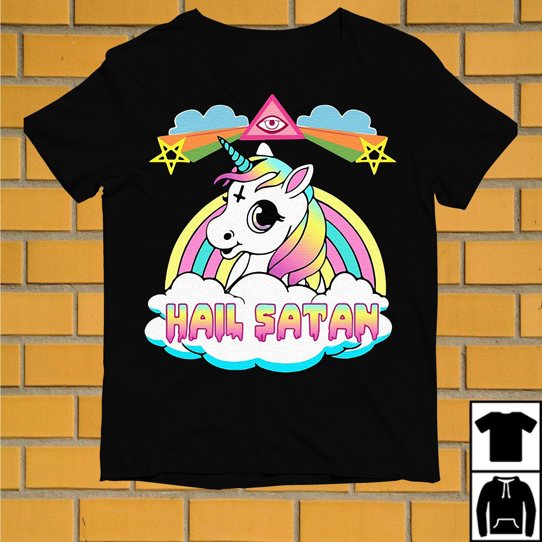 Rainbow Unicorn Hail Satan shirt