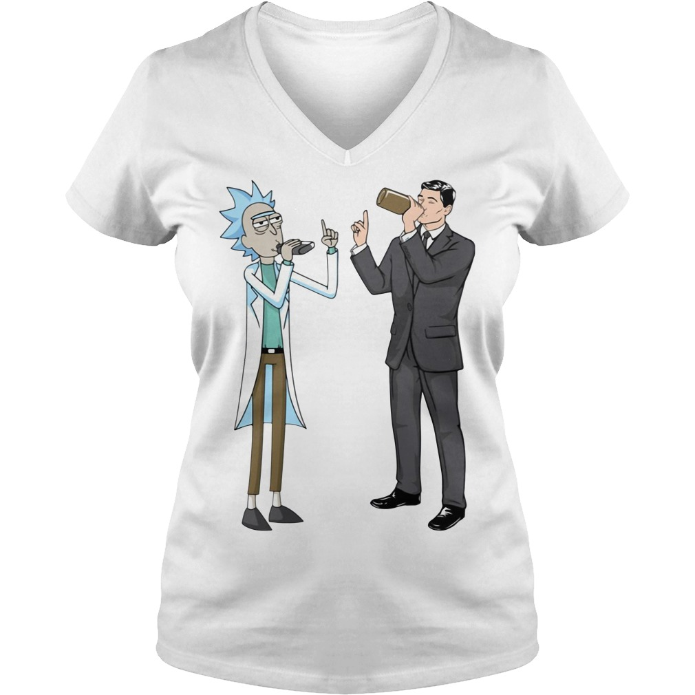 Rick and Sterling Archer drink wine V-neck T-shirt