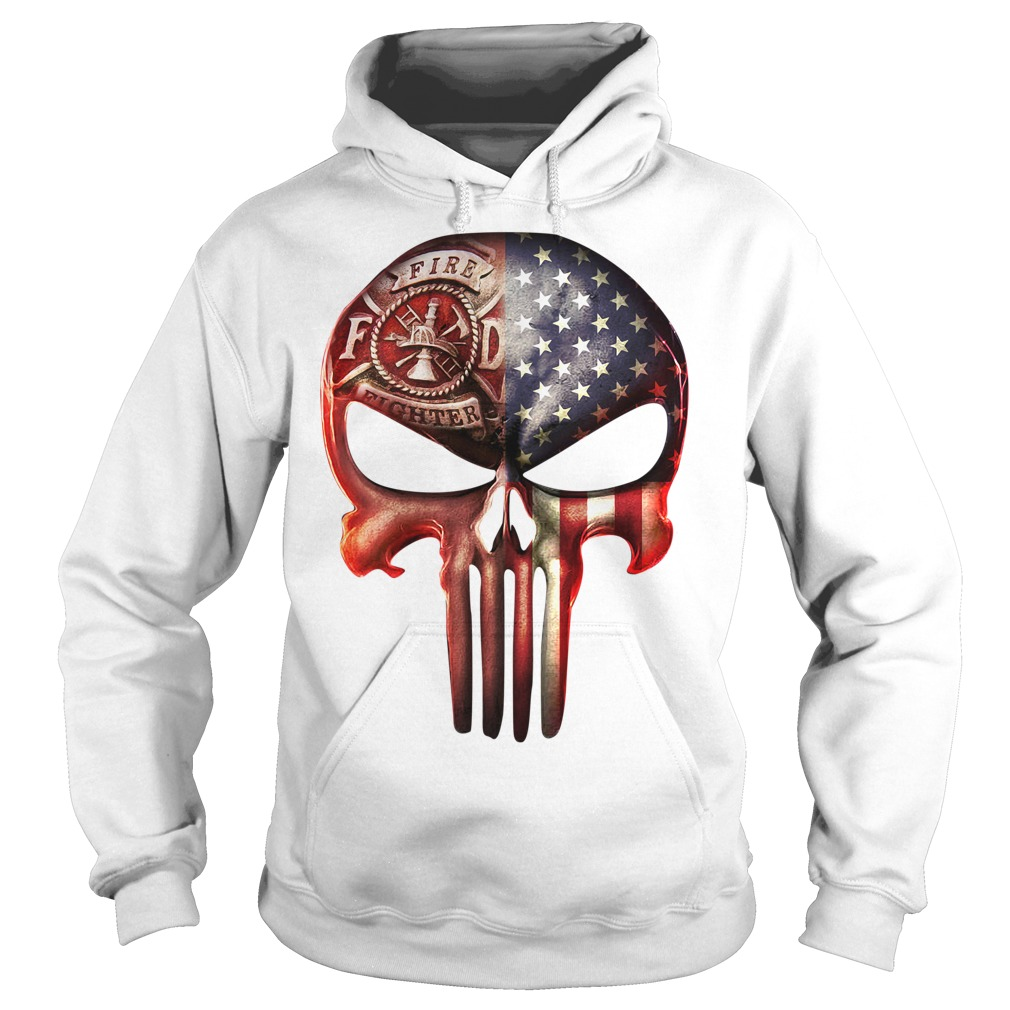 Skull firefighter American flag Hoodie
